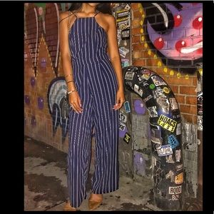 Navy Jumpsuit with white stripes
